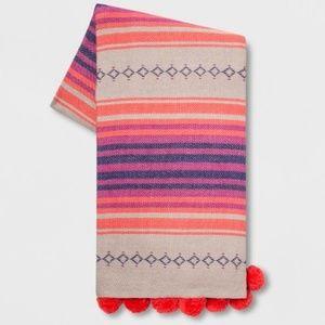 OpalHouse Cotton Global Stripe Pom Pom Woven Throw